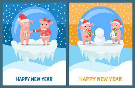 New Year Piglets Couples, Gift Box and Snowman Illustration