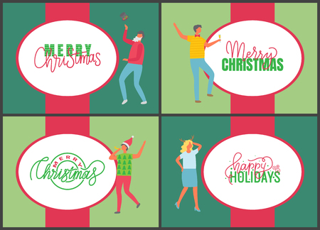 Jingle bells happy New Year and Merry Christmas celebration posters on multicolor background. People with champagne drinking alcohol and dancing. Fun party of man and woman