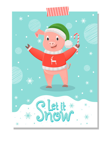 Pig in Red Sweater with Reindeer, Green Hat, Candy Illustration