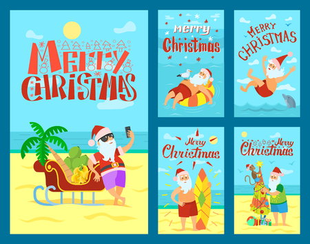 Merry Christmas, Santa Claus and sleigh full of fruits. Vector New Year character in tropical country at coastline, swimming and surfing in sea, decorate umbrella Standard-Bild - 127019916