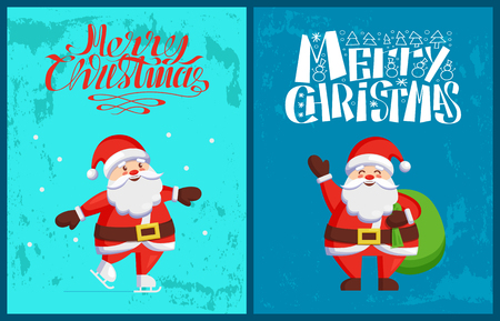 Santa Claus winter holidays adventures vector. Saint Nicholas skating on ice, send wishes standing with sack full of presents. New Year cartoon character