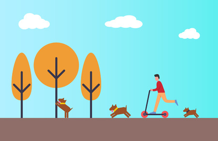 Person riding scooter in autumn park. Dogs playing outside with master. Boy having fun in city park with pet. Yellow trees and blue sky, vector flat style