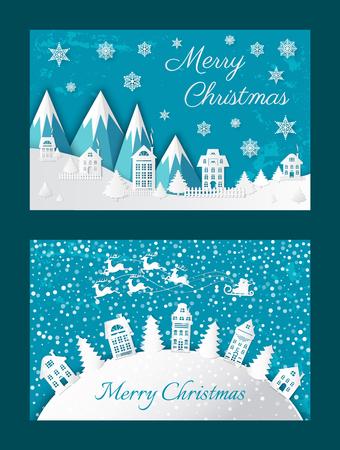 Merry Christmas Postcard Buildings Mountain Vector