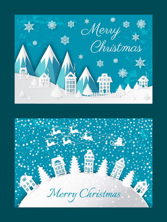 Merry Christmas Postcard Buildings Mountain Vector