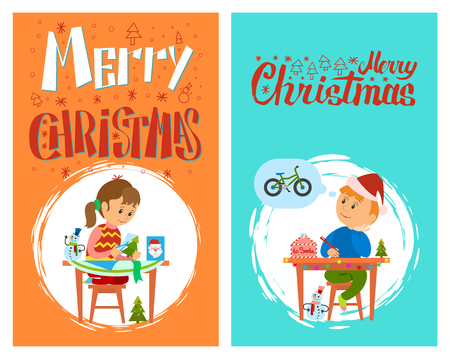 Merry Christmas holidays preparation, letter to Santa Claus and handmade present, vector in brush frame. Boy thinking of wish to make, kid writing mail Standard-Bild - 126996269