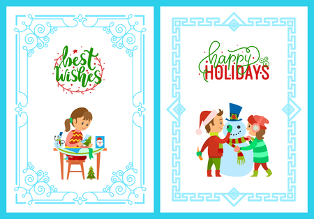 Best wishes on Christmas holidays, child making handmade greeting post, pine evergreen tree and Santa Claus cutting. Children with snowman outdoors vector