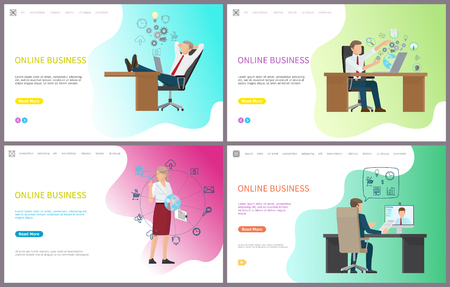 Online business, businessman talking on internet with partner abroad vector. Communication and possibilities with digital world and new renovations