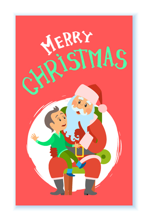 Merry Christmas, winter holidays, Santa Claus and kid sitting on his laps vector in round brush frame. Boy child making wish to Saint Nicholas elderly person