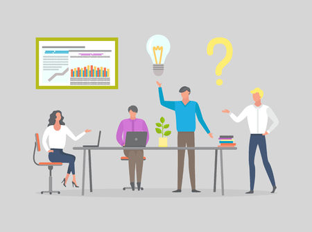 Business people at briefing, workers at meeting discussing business issues vector isolated. Man with light bulb, woman and question mark, laptop on table Illustration
