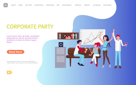 Cheerful coworkers celebrating success in office sitting on sofa near board and shelf, drinking wine. Men and women corporate party after workday vector Illustration