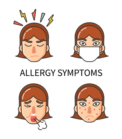 Allergy symptoms, body hypersensitivity of organism isolated icons set vector. Angry girl with headache, coughing patient, skin rash pimples on face Illustration