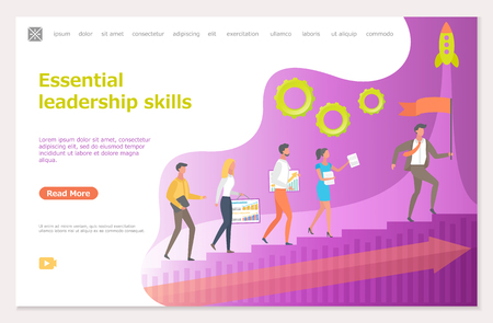Essential leadership skills, leader with workers vector. Boss leading people, rocket symbolizing startup and innovative ideas of company director