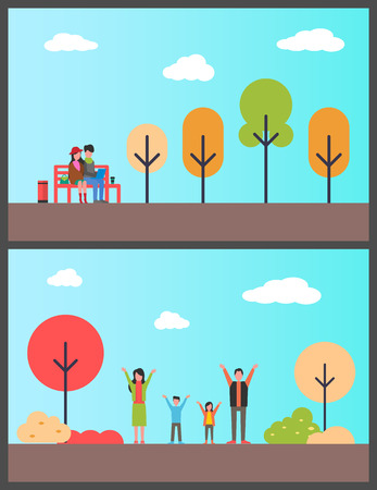 Family in autumn park, couple of freelancers on bench vector. Nature with trees and bushes, people in natural surroundings working projects on laptop 向量圖像