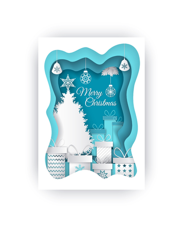 Merry Christmas paper cut evergreen tree gifts vector. Decorative pine plant with star on top, presents and baubles decorative toys with lace hanging