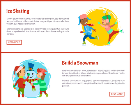 Build snowman and ice skating postcards, children on rink playing together in winter vector. Boy and girl making snowman, vector posters, text sample