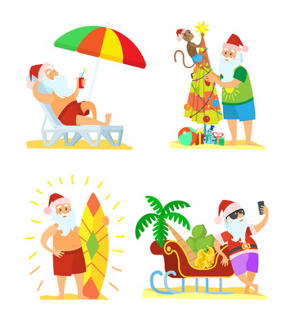 Collection of Christmas beach holiday Santa Claus vector in flat style isolated on white. Surf and chaise-lounge, fir-tree with monkey and palmtree Illustration