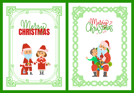 Merry Christmas winter holidays, characters and kid in ornamental frames vector. Santa Claus and Snow Maiden holding candy lollipop. Boy making wish Illustration