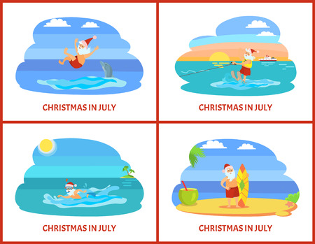 Christmas on beach, winter holiday in summer celebration vector. Santa Claus having fun, swimming and standing with surfing board, drinking cocktail 向量圖像