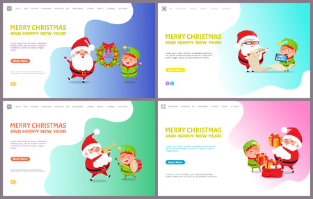 Merry Christmas and happy New Year, Santa Claus and Elf getting messages with wishes. Reading gifts list, playing musical instruments, put presents into sack Standard-Bild - 126996295