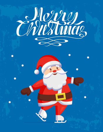 Merry Christmas, Santa Claus skating on skate rink isolated on blue snowy background. Saint Nicholas and winter sport activities, vector character in cartoon style