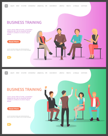 Business training, seminar conference workers meeting set vector. Conference with asking and answering questions, Businessman businesswoman learning