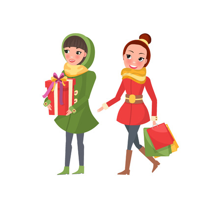 Two woman shopaholics with presents gift boxes. Female friends doing shopping isolated on white. Stylish ladies in green and red coats vector buyers Foto de archivo - 126996300