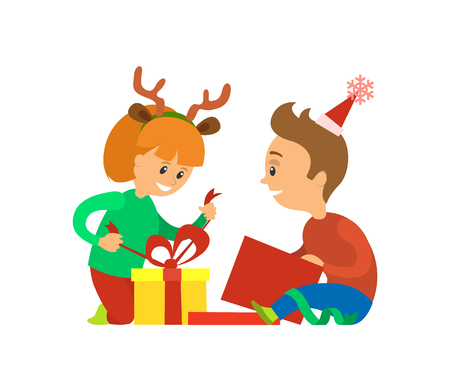 Christmas Holidays, Children Opening Presents