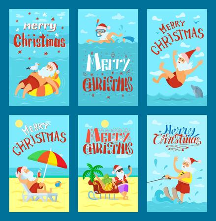 Sunny Merry Christmas with Santa on Beach Vector Stock Photo