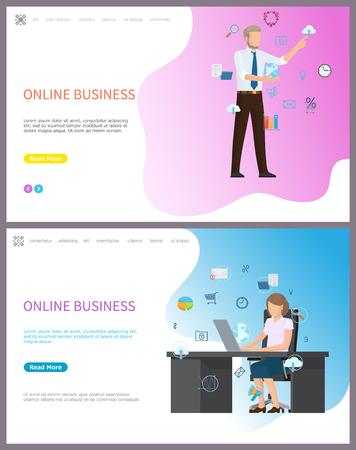 Online Business, Businesswoman Sitting in Office
