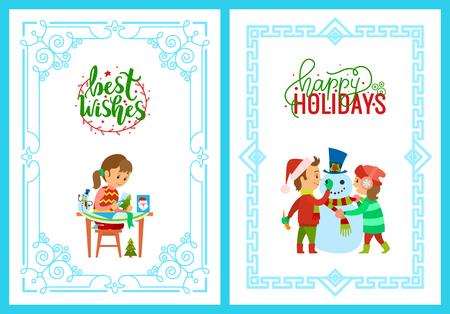 Fille de vacances de Noël avec carte enfants et bonhomme de neige Banque d'images