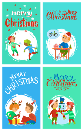 Merry Christmas Holidays Children Having Fun Cards