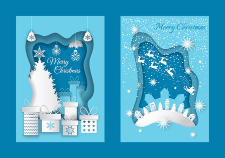 Merry Christmas Greeting Postcards with Houses