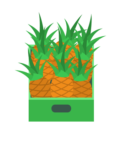 Shelf with pineapples in supermarket grocery store, vector retail market isolated icon. Tray with tropical fruits, fresh ananas in container or package Ilustração