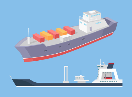 Cargo ship and rescue police boat marine vessels vector icons isolated on blue. Transportation boat full of containers export goods, shipping and delivering