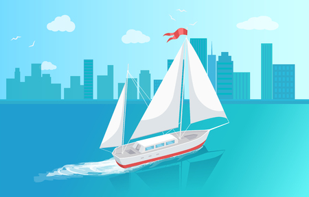 Sail boat with white canvas sailing in deep blue waters and leave trace vector at cityscape backdrop. Modern yacht marine nautical personal boat icon Illustration