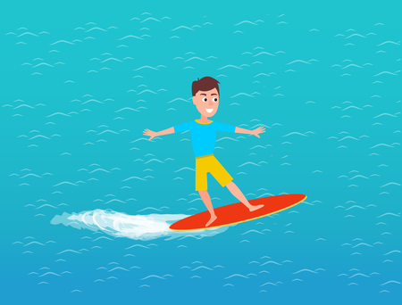 Water transport and male on surfing board vector. Person riding surfboard on waves of sea surface. Person having fun going in for sport, hobby of teen