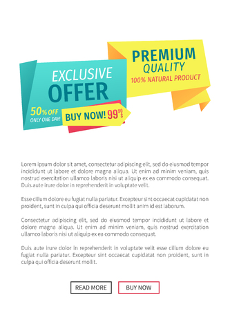 Exclusive offer buy now poster with text sample and web button. Sale discount of shop premium quality of natural products. Only one day price vector
