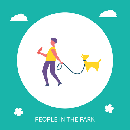 Boy walking dog on leash in park isolated cartoon banner vector icon. Guy in casual clothes with cola bottle going with pet, spending time outdoor 일러스트