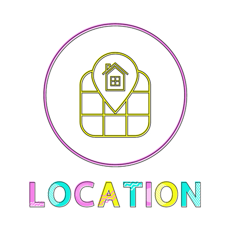Location identification service linear round icon. Geographical position on map by means of Internet outline button template vector illustration.