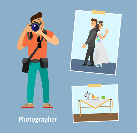 Photographer with digital camera and photographs. Wedding photo of groom next to bride, still life picture of fruits near teapot vector illustration. Ilustração