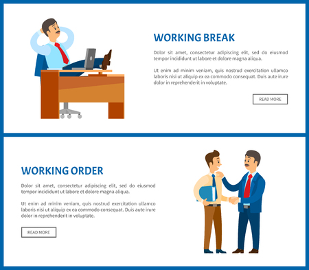 Working break and receiving instructions or order from boss. Conversation between colleagues. Leader resting at table with legs up vector poster