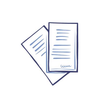 Feuille de bureau de l'ensemble de documentation papier du vecteur d'icône. Texte et informations sur les pages, données publiées et signature de la personne ci-dessous. Articles et informations
