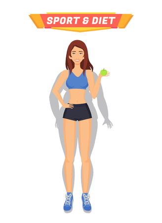 Sport and diet healthy woman holding apple and eating fruits. Weight loss of person, female transformation of body. Lady got rid of obesity vector