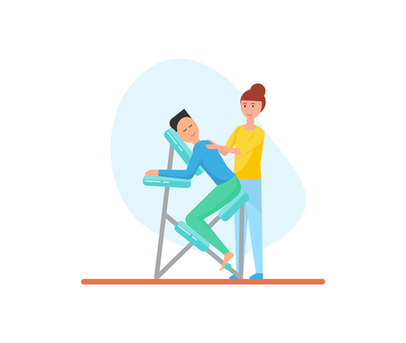 Massage of back using special chair for better relaxation isolated icon vector. Masseuse with male client suffering from pain and ache, treatment care