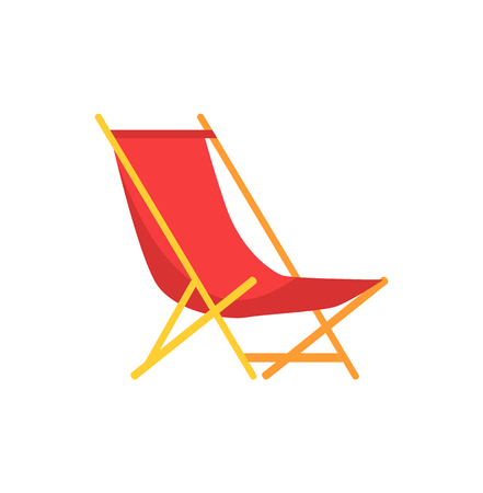 Beach sunbed emblem cartoon isolated vector icon. Empty beach chair, folding seat of wood and tissue, single simple element, side view primitive badge Illustration
