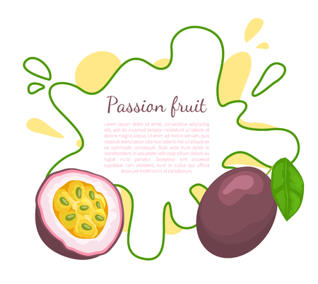 Passionfruit with leaf, exotic juicy fruit vector poster frame and text. Maracuja, parcha, grenadille or fruits de la passion. Tropical edible dieting food Illustration