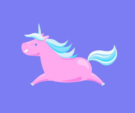 Unicorn running cartoon horse vector of pink animal with blue horn and mane isolated. Lovely mythology character, magic fantasy creature from dreams