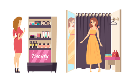 Shopping and beauty makeup stand isolated set vector. Lady trying on long dress in changing room. Customer looking at cosmetics palettes and creams