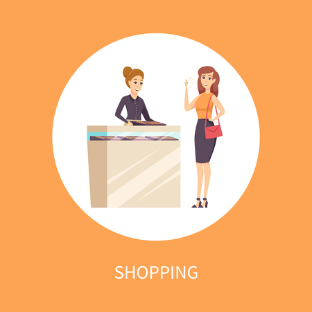 Shopping Female in Jewelry Store with Consultant