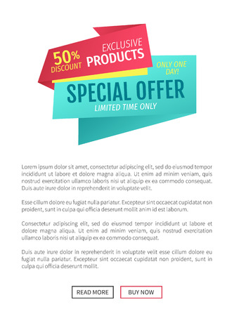 Special Offer Exclusive Poster Vector Illustration Stock Photo